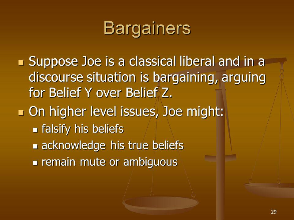 29 Bargainers Suppose Joe is a classical liberal and in a discourse situation is bargaining, arguing for Belief Y over Belief Z.