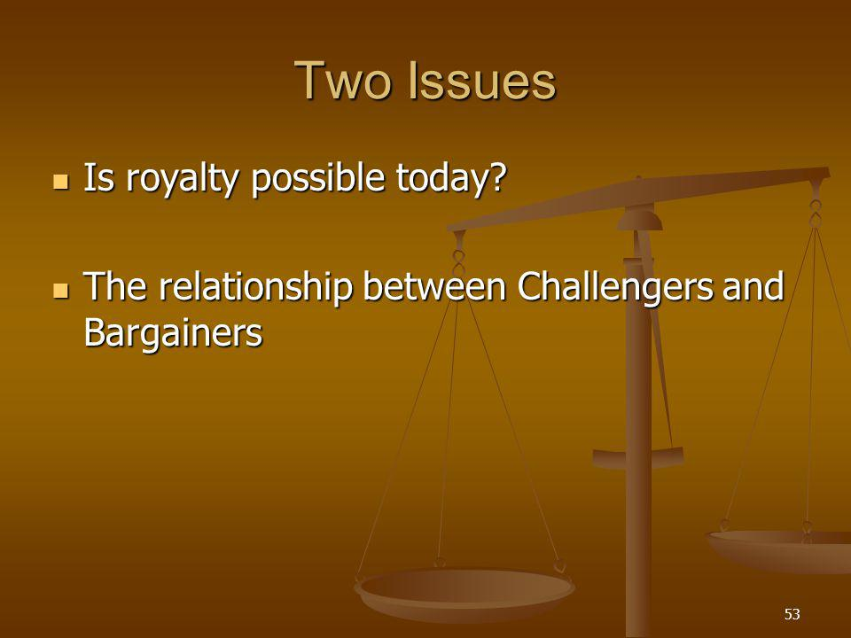 53 Two Issues Is royalty possible today. Is royalty possible today.