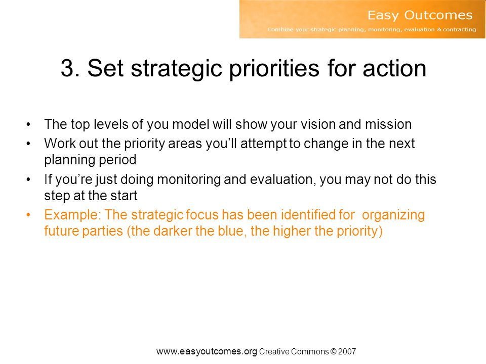 3. Set strategic priorities for action The top levels of you model will show your vision and mission Work out the priority areas you'll attempt to cha