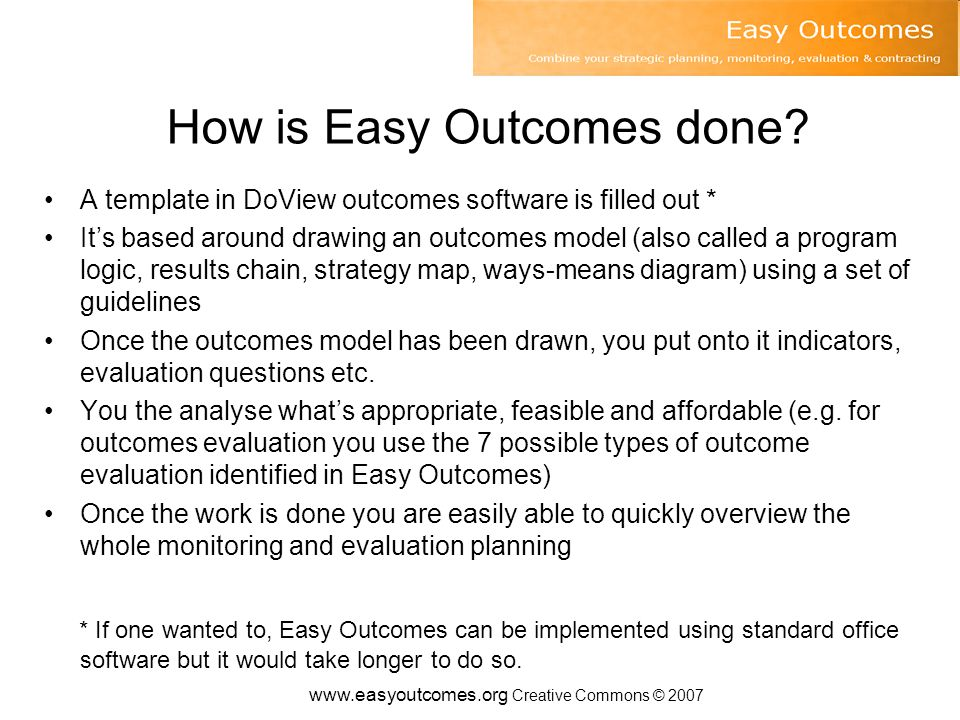 www.easyoutcomes.org Creative Commons © 2007 The process 1.Getting started 2.Draw an outcomes model 3.Set strategic priorities for action (if doing strategic planning) 4.Put indicators onto your model 5.List indicator projects 6.Put evaluation questions onto your model 7.Decide which evaluation questions to try to answer 8.Work out what outcome evaluation is possible 9.List evaluation projects 10.Work out what economic evaluation to do 11.Work out overall evaluation scheme 12.Work out delegated or contracting accountabilities
