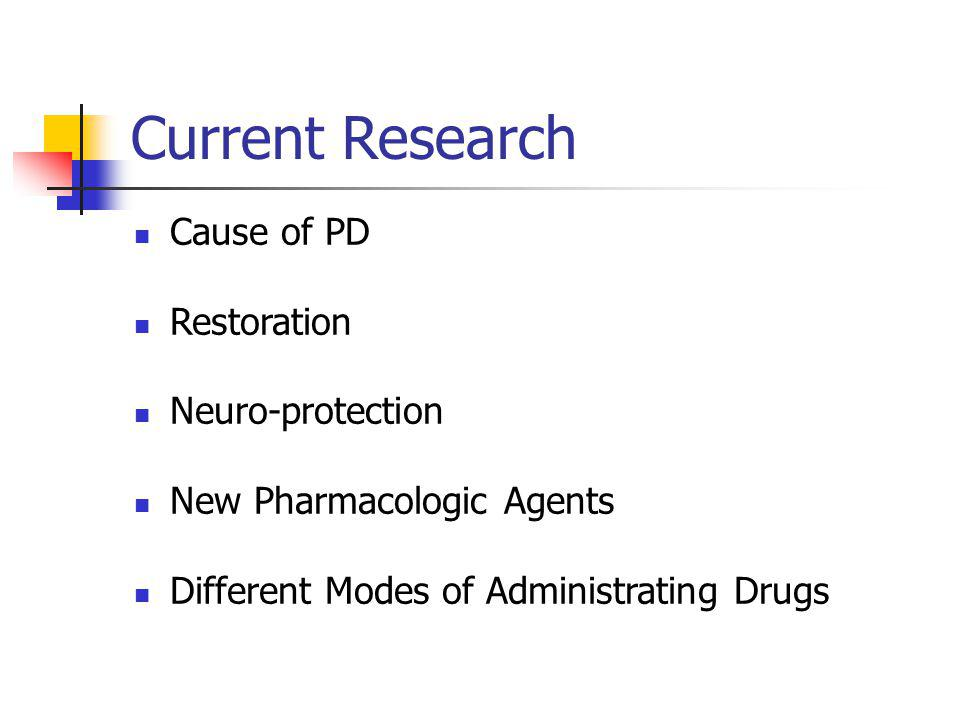 Current Research Cause of PD Restoration Neuro-protection New Pharmacologic Agents Different Modes of Administrating Drugs