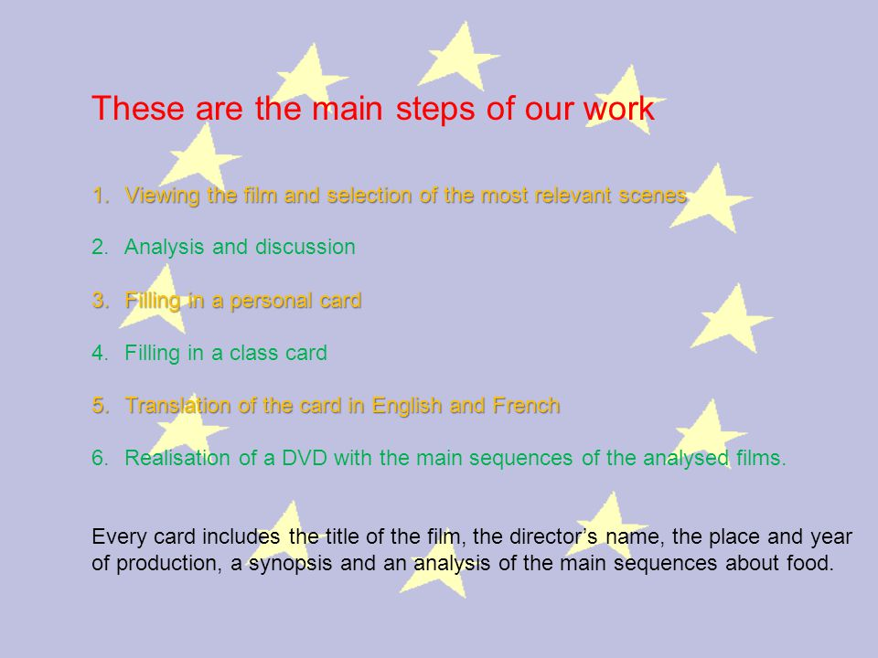 These are the main steps of our work 1.Viewing the film and selection of the most relevant scenes 2.Analysis and discussion 3.Filling in a personal card 4.Filling in a class card 5.Translation of the card in English and French 6.Realisation of a DVD with the main sequences of the analysed films.
