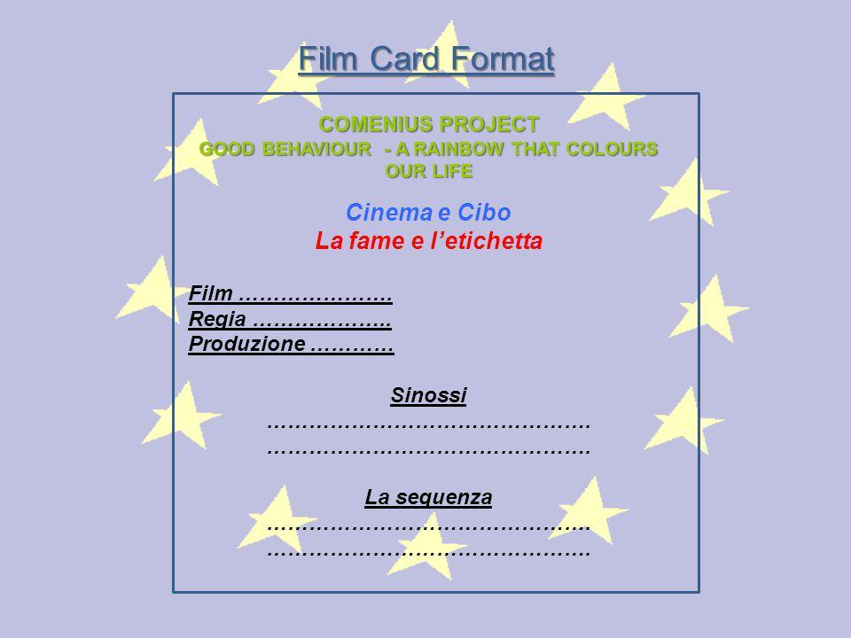 COMENIUS PROJECT GOOD BEHAVIOUR - A RAINBOW THAT COLOURS OUR LIFE Cinema e Cibo La fame e l'etichetta Film …………………. Regia ……………….. Produzione ………… Sin