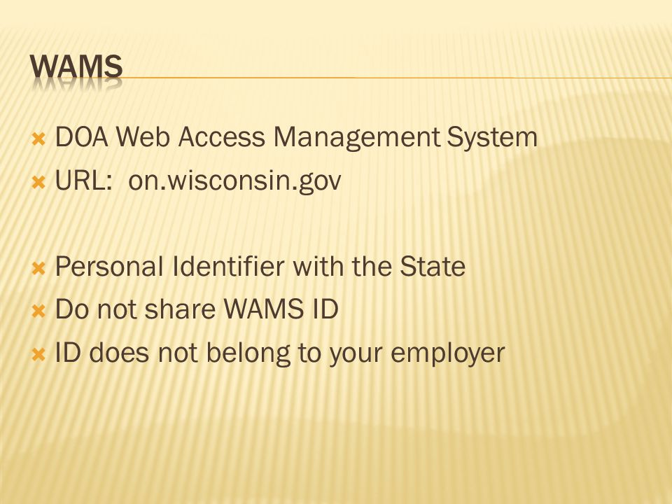  DOA Web Access Management System  URL: on.wisconsin.gov  Personal Identifier with the State  Do not share WAMS ID  ID does not belong to your em