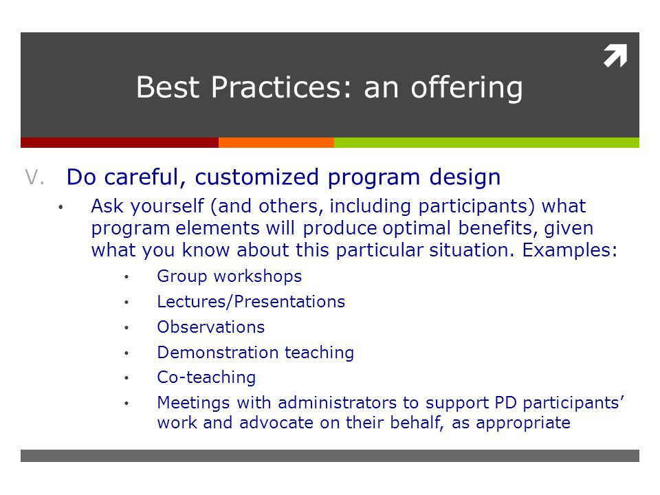  Best Practices: an offering V.