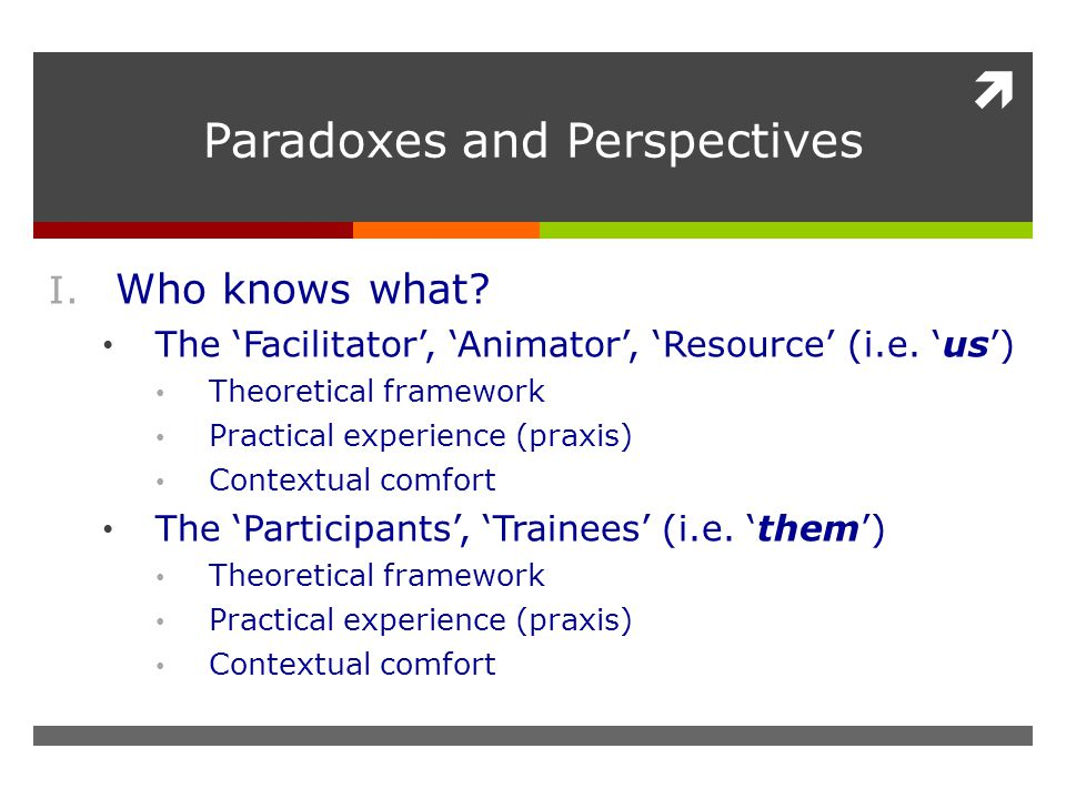  Paradoxes and Perspectives I. Who knows what. The 'Facilitator', 'Animator', 'Resource' (i.e.