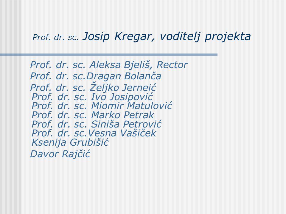 Prof. dr. sc. Josip Kregar, voditelj projekta Prof. dr. sc. Aleksa Bjeliš, Rector Prof. dr. sc.Dragan Bolanča Prof. dr. sc. Željko Jerneić Prof. dr. s