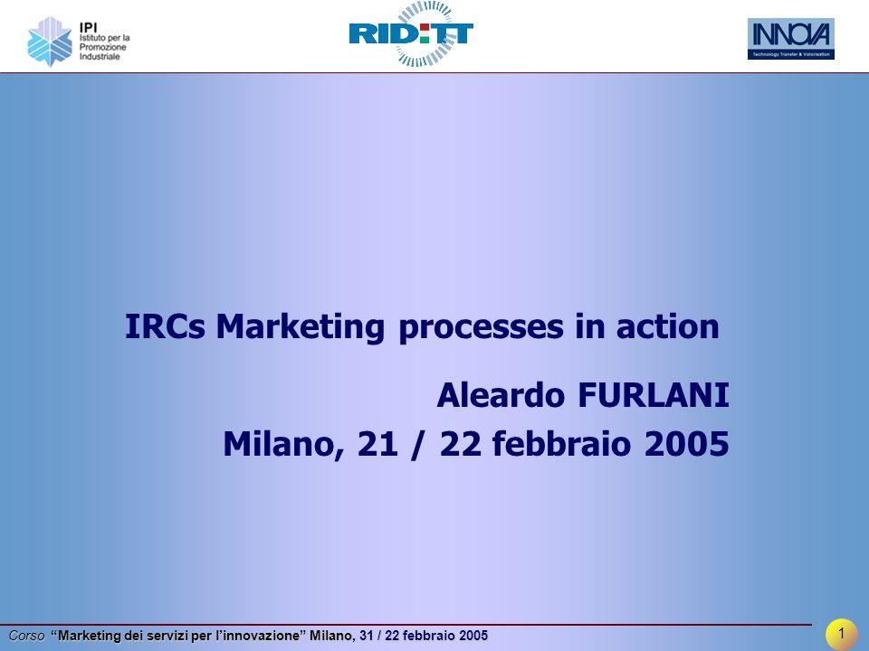1 Corso Marketing dei servizi per l'innovazione Milano, 31 / 22 febbraio 2005 Aleardo FURLANI Milano, 21 / 22 febbraio 2005 IRCs Marketing processes in action