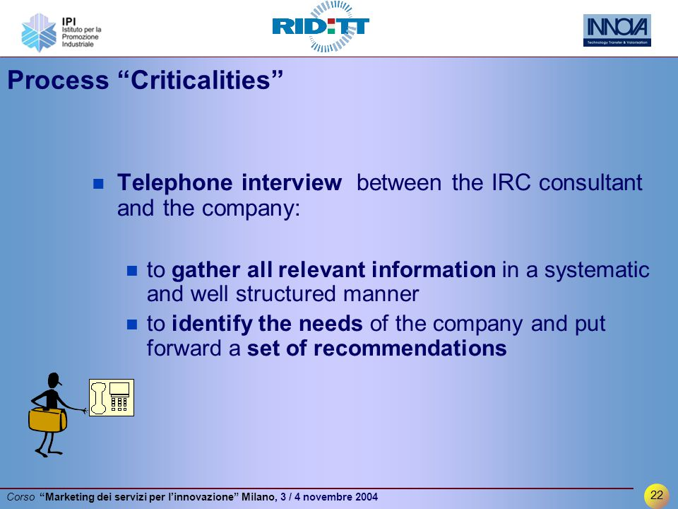 22 Corso Marketing dei servizi per l'innovazione Milano, 3 / 4 novembre 2004 Process Criticalities Telephone interview between the IRC consultant and the company: to gather all relevant information in a systematic and well structured manner to identify the needs of the company and put forward a set of recommendations
