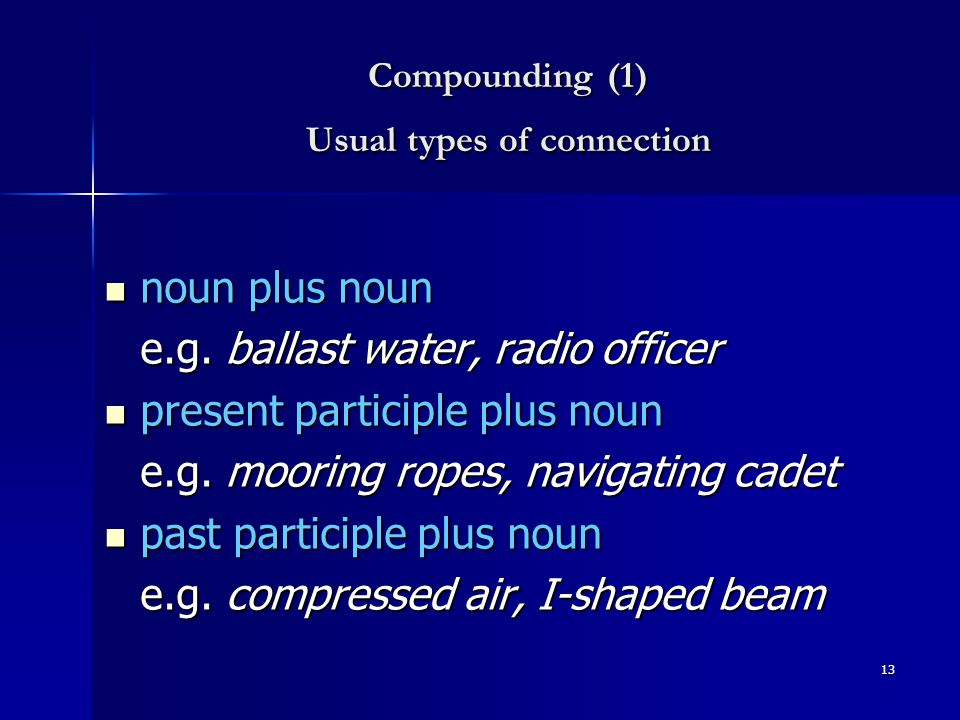 12 ' Shifts' In meaning 'bank' 'bank' - a financial institution - the bank of a river - a 'bank of fog' - a 'row of objects' (e.g.