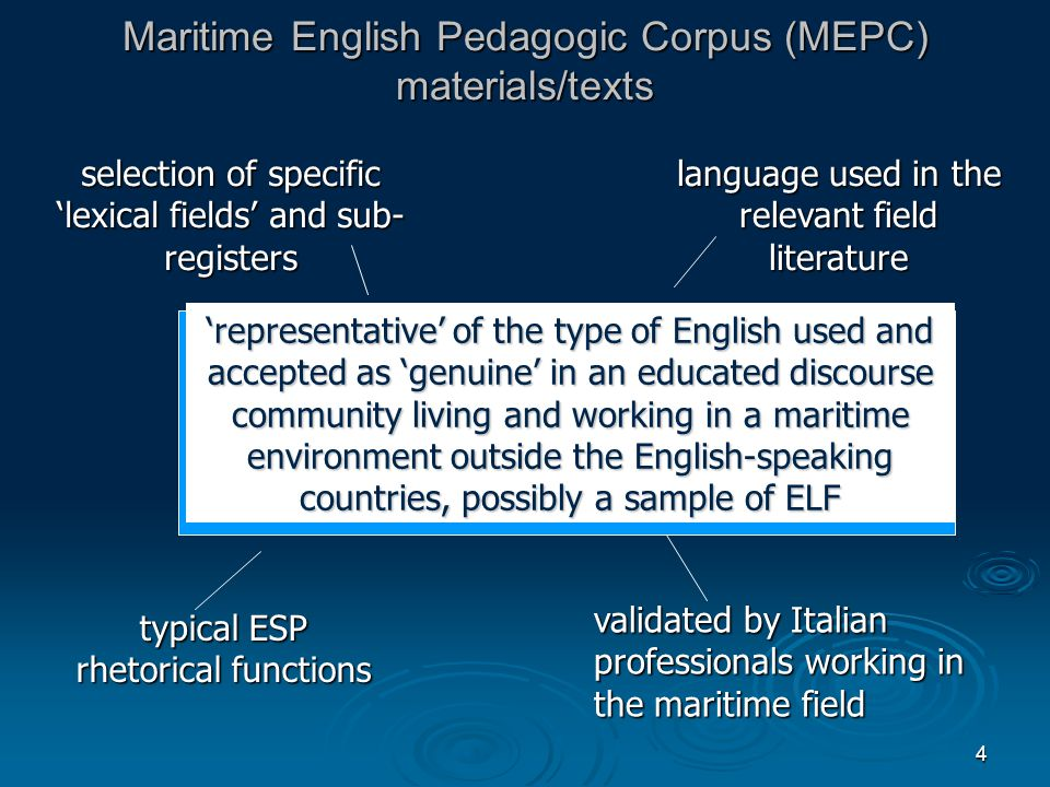 4 Maritime English Pedagogic Corpus (MEPC) materials/texts 'representative' of the type of English used and accepted as 'genuine' in an educated discourse community living and working in a maritime environment outside the English-speaking countries, possibly a sample of ELF selection of specific 'lexical fields' and sub- registers language used in the relevant field literature typical ESP rhetorical functions validated by Italian professionals working in the maritime field