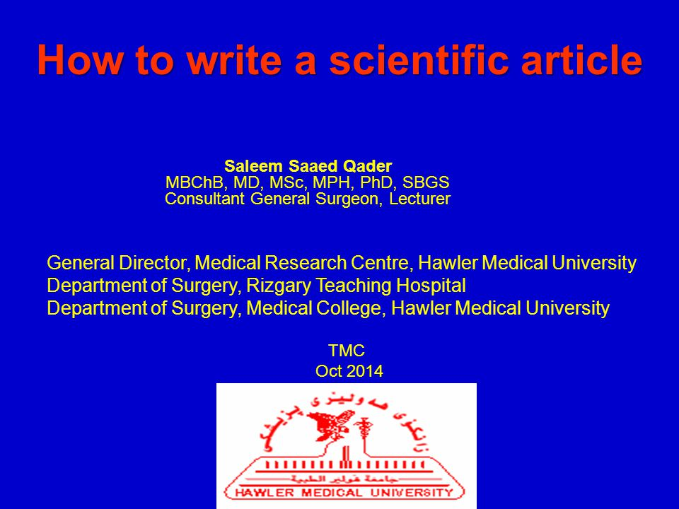 How to write a scientific text.