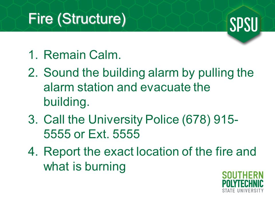 Fire (Structure) 1.Remain Calm.