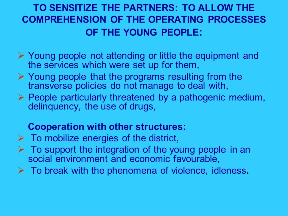TO SENSITIZE THE PARTNERS: TO ALLOW THE COMPREHENSION OF THE OPERATING PROCESSES OF THE YOUNG PEOPLE :  Young people not attending or little the equipment and the services which were set up for them,  Young people that the programs resulting from the transverse policies do not manage to deal with,  People particularly threatened by a pathogenic medium, delinquency, the use of drugs, Cooperation with other structures:  To mobilize energies of the district,  To support the integration of the young people in an social environment and economic favourable,  To break with the phenomena of violence, idleness.