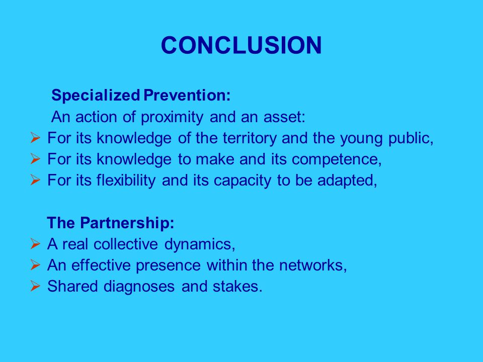 CONCLUSION Specialized Prevention: An action of proximity and an asset:  For its knowledge of the territory and the young public,  For its knowledge to make and its competence,  For its flexibility and its capacity to be adapted, The Partnership:  A real collective dynamics,  An effective presence within the networks,  Shared diagnoses and stakes.