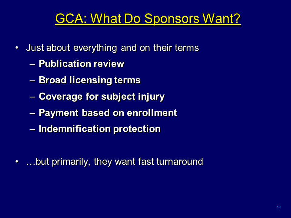14 GCA: What Do Sponsors Want.