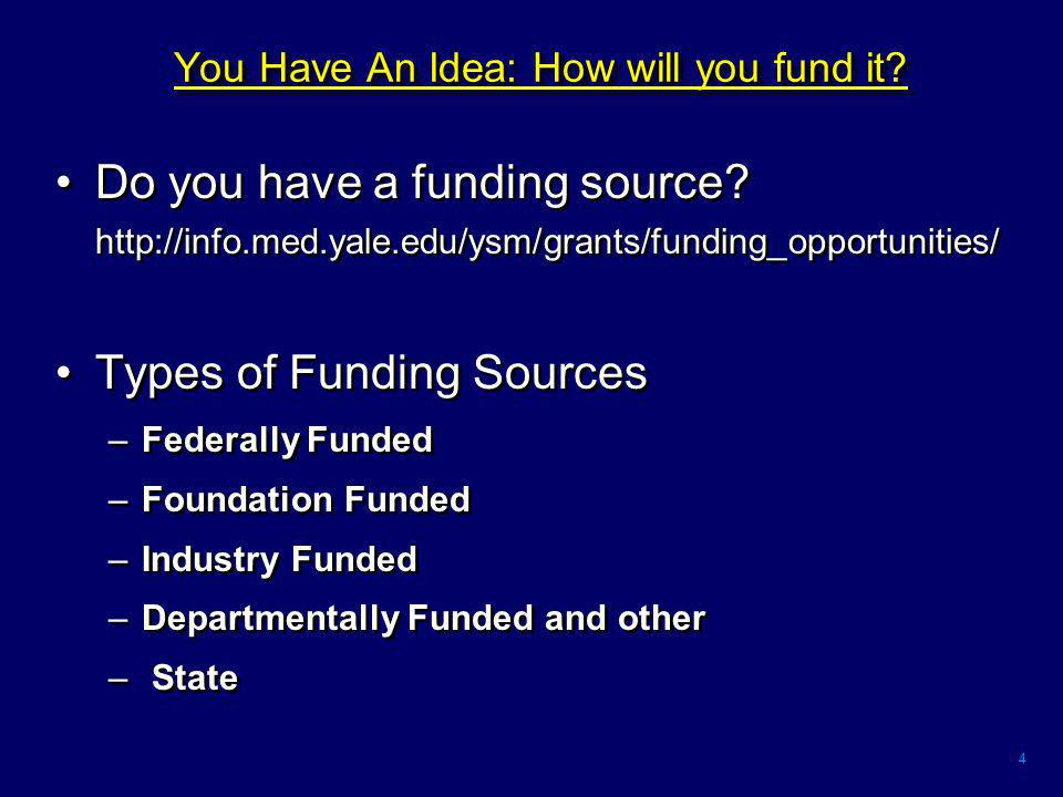 4 You Have An Idea: How will you fund it. Do you have a funding source.