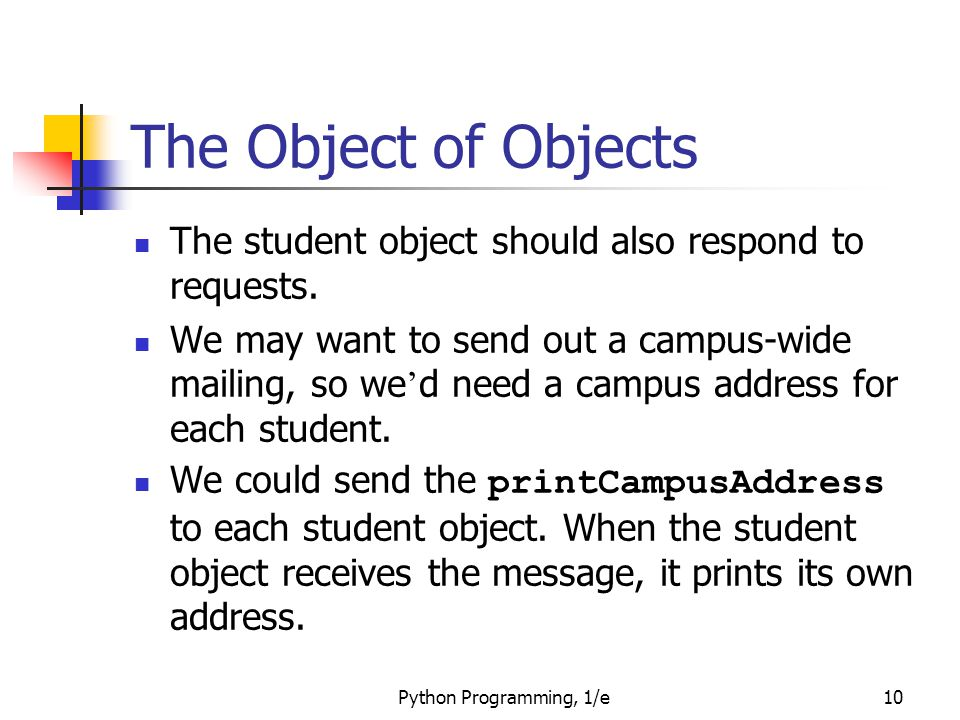 Python Programming, 1/e10 The Object of Objects The student object should also respond to requests. We may want to send out a campus-wide mailing, so