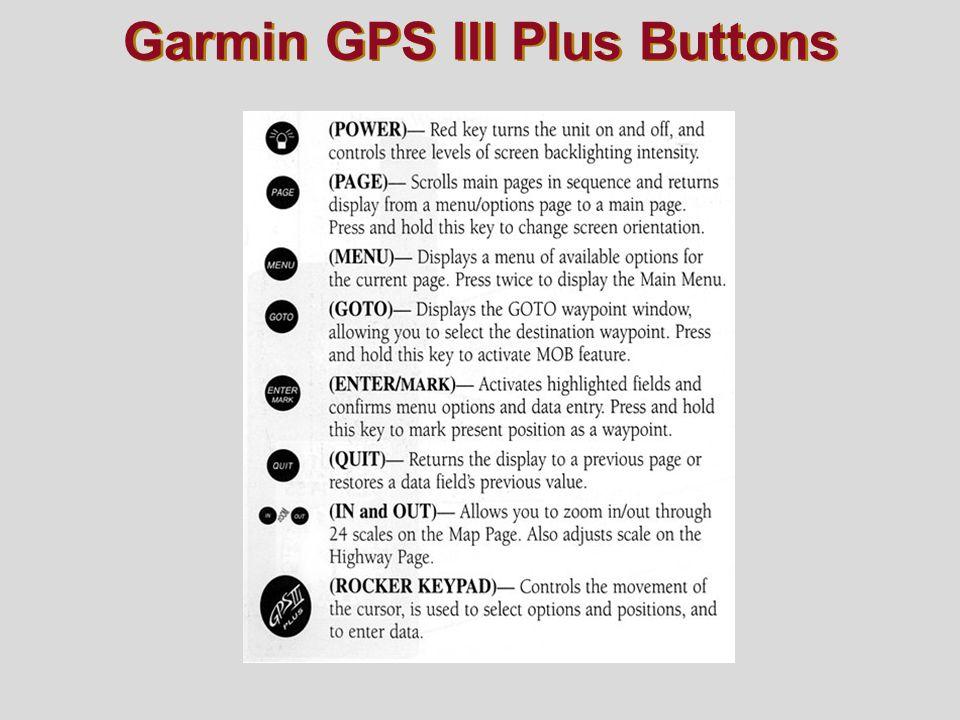 Garmin GPS III Plus Buttons