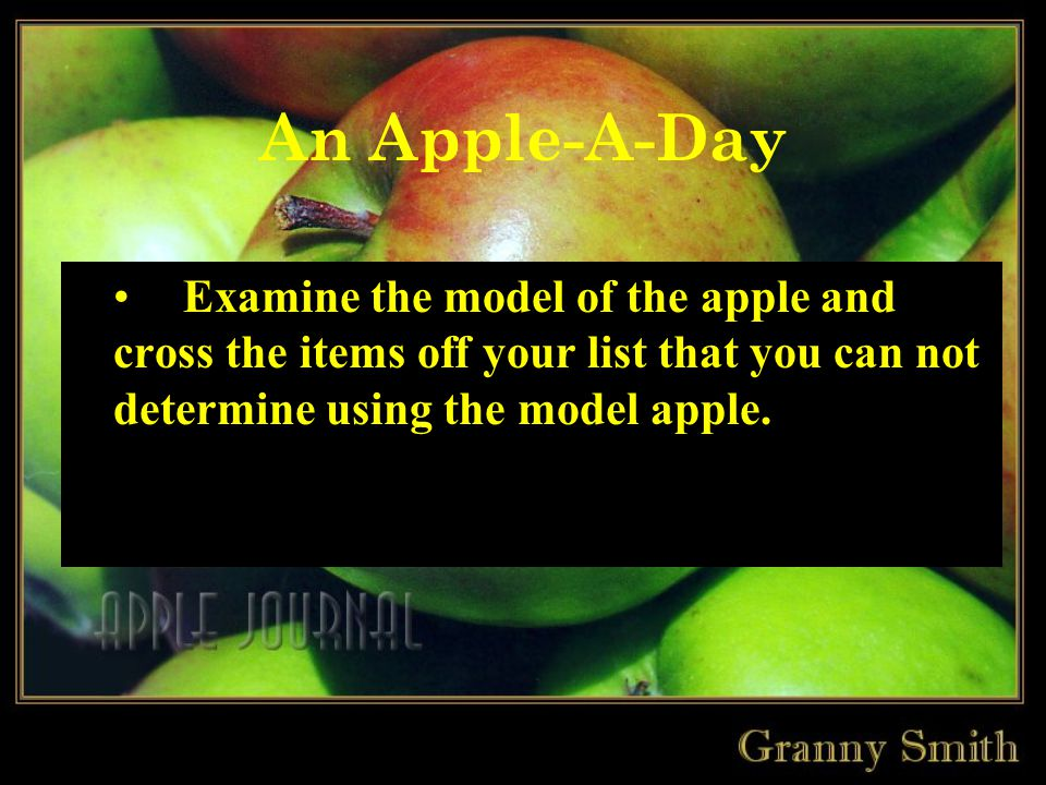 An Apple-A-Day Examine the model of the apple and cross the items off your list that you can not determine using the model apple.
