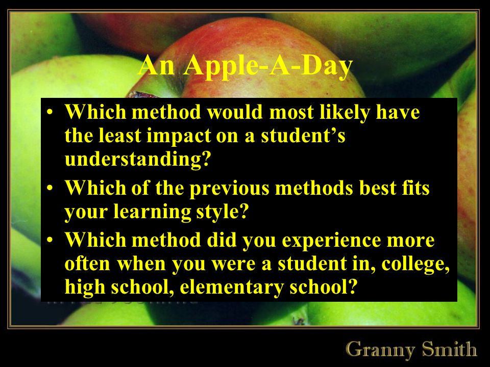 An Apple-A-Day Which method would most likely have the least impact on a student's understanding.