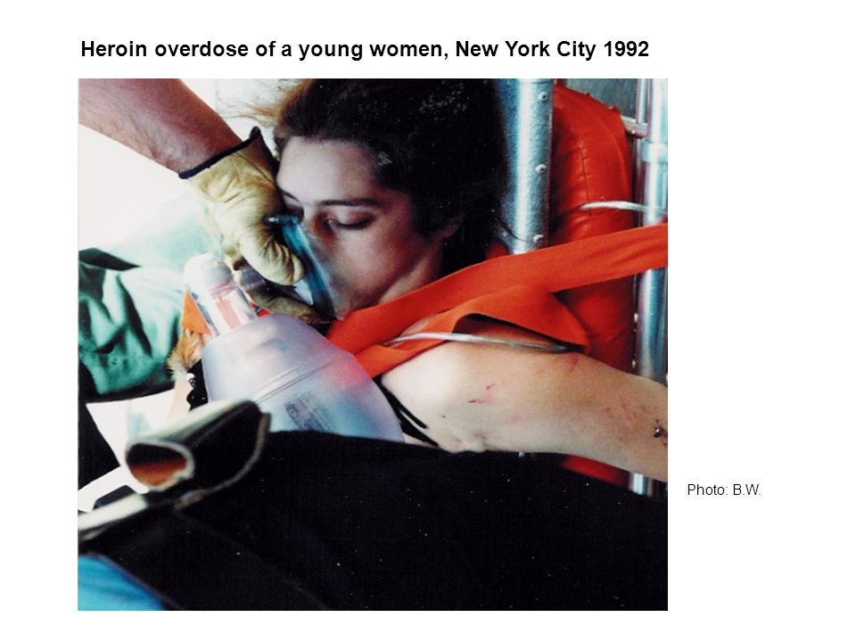 Heroin overdose of a young women, New York City 1992 Photo: B.W.