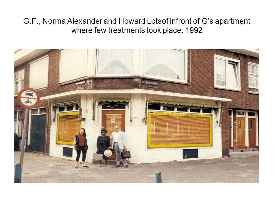 G.F., Norma Alexander and Howard Lotsof infront of G's apartment where few treatments took place.