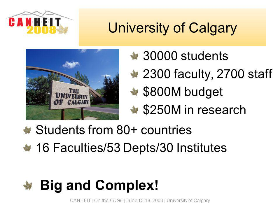 CANHEIT | On the EDGE | June 15-18, 2008 | University of Calgary University of Calgary 30000 students 2300 faculty, 2700 staff $800M budget $250M in research Students from 80+ countries 16 Faculties/53 Depts/30 Institutes Big and Complex!