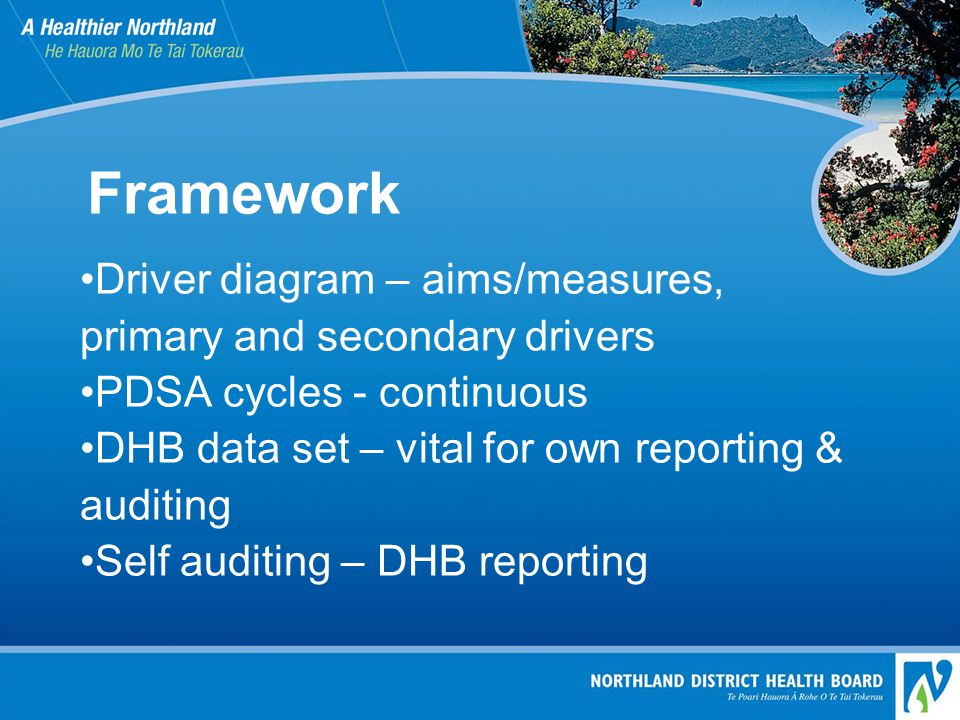 Framework Driver diagram – aims/measures, primary and secondary drivers PDSA cycles - continuous DHB data set – vital for own reporting & auditing Sel