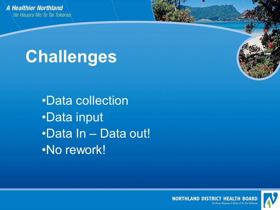 Challenges Data collection Data input Data In – Data out! No rework!