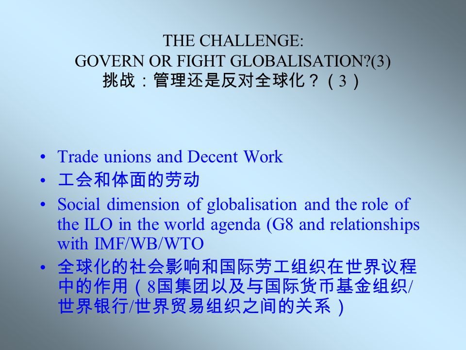 THE CHALLENGE: GOVERN OR FIGHT GLOBALISATION?(2) 挑战:管理还是反对全球化?( 2 ) 挑战: Trade union networking and global solidarity 工会网络工作和世界团结 Globalisation of workers' rights: ILO Declaration on Fundamental Principles and Rights at Work 工人权利的全球化:国际劳工组织关于工作场 所中的基本权利和原则宣言 TU nat./inter.