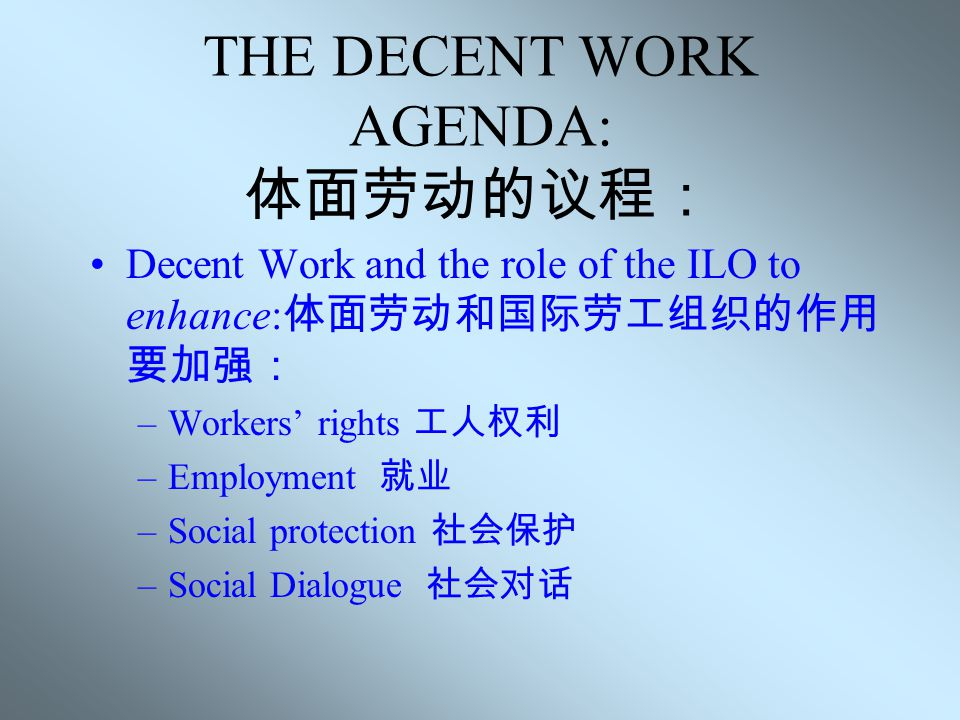 THE ILO AGENDA 国际劳工组织的议程 Decent Work agenda 体面劳动的议程 World Commission on the Social dimension of globalisation 全球化社会影响世界委员会