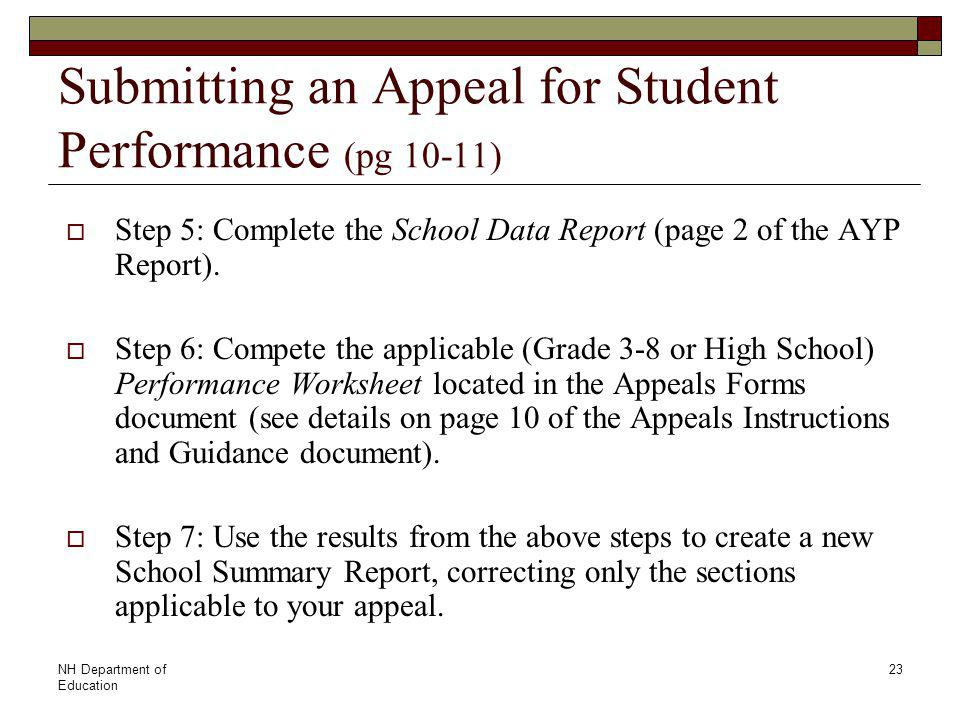 NH Department of Education 23 Submitting an Appeal for Student Performance (pg 10-11)  Step 5: Complete the School Data Report (page 2 of the AYP Report).