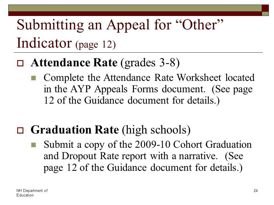 NH Department of Education 24 Submitting an Appeal for Other Indicator (page 12)  Attendance Rate (grades 3-8) Complete the Attendance Rate Worksheet located in the AYP Appeals Forms document.