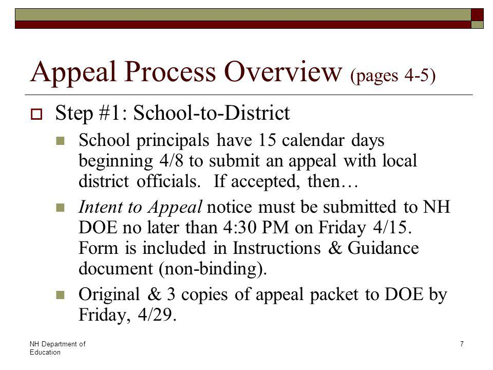 NH Department of Education 7 Appeal Process Overview (pages 4-5)  Step #1: School-to-District School principals have 15 calendar days beginning 4/8 to submit an appeal with local district officials.