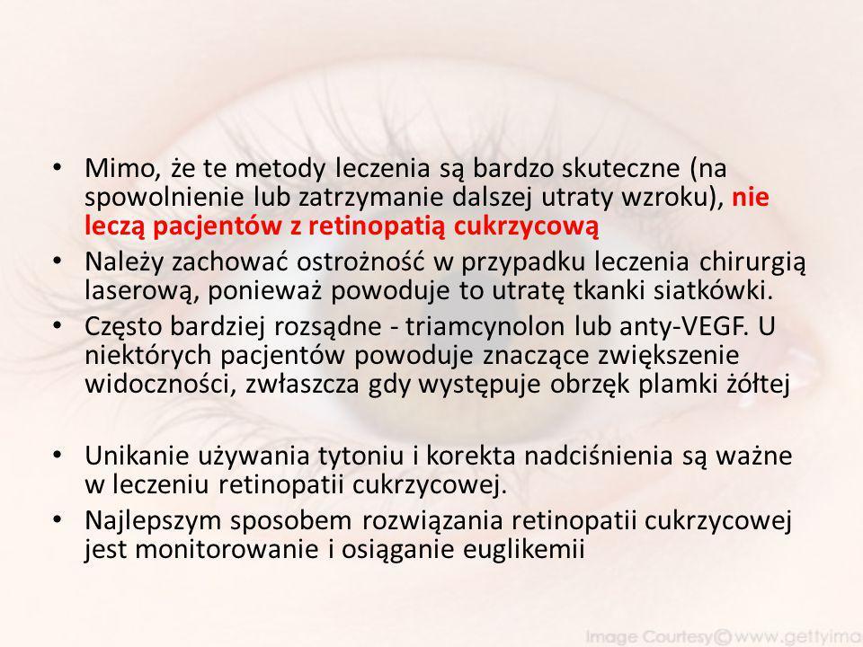 Mimo, że te metody leczenia są bardzo skuteczne (na spowolnienie lub zatrzymanie dalszej utraty wzroku), nie leczą pacjentów z retinopatią cukrzycową Należy zachować ostrożność w przypadku leczenia chirurgią laserową, ponieważ powoduje to utratę tkanki siatkówki.