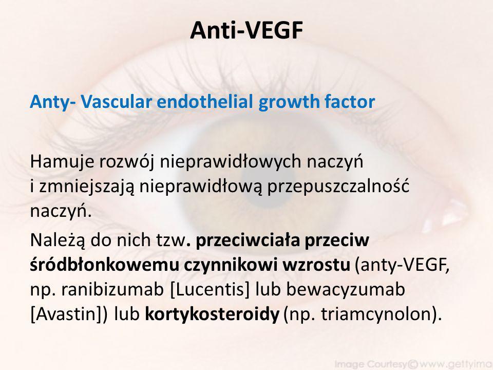 Anti-VEGF Anty- Vascular endothelial growth factor Hamuje rozwój nieprawidłowych naczyń i zmniejszają nieprawidłową przepuszczalność naczyń.