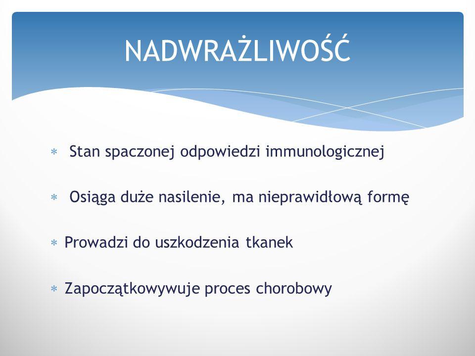  Stan spaczonej odpowiedzi immunologicznej  Osiąga duże nasilenie, ma nieprawidłową formę  Prowadzi do uszkodzenia tkanek  Zapoczątkowywuje proces