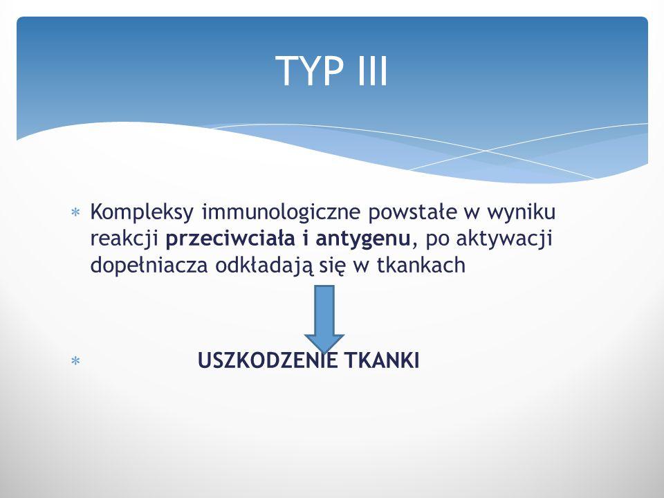  Kompleksy immunologiczne powstałe w wyniku reakcji przeciwciała i antygenu, po aktywacji dopełniacza odkładają się w tkankach  USZKODZENIE TKANKI T