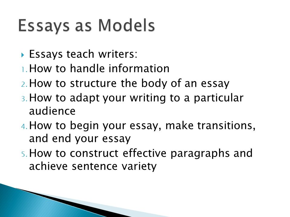  That comparison and contrast essays can be organized in the subject-by-subject pattern or point-by-point pattern,  That narratives are structured chronologically, and  That cause and effect analyses are linear and sequential.