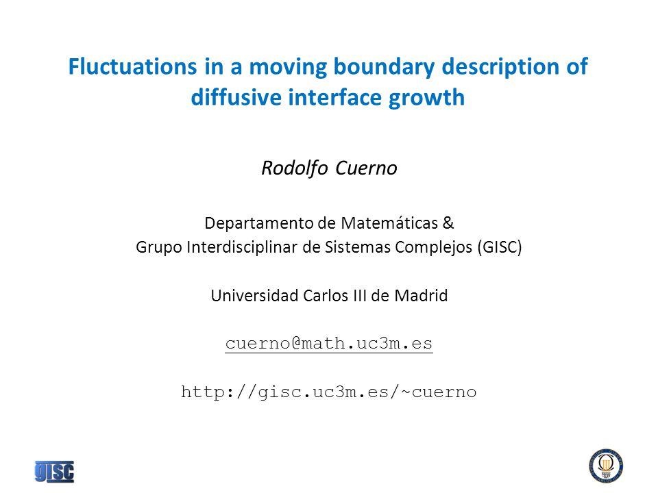Fluctuations in a moving boundary description of diffusive interface growth Rodolfo Cuerno Departamento de Matemáticas & Grupo Interdisciplinar de Sistemas Complejos (GISC) Universidad Carlos III de Madrid cuerno@math.uc3m.es http://gisc.uc3m.es/~cuerno
