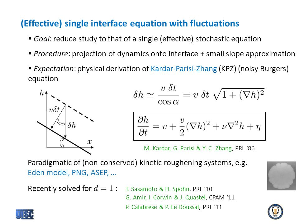 (Effective) single interface equation with fluctuations  Goal: reduce study to that of a single (effective) stochastic equation  Procedure: projection of dynamics onto interface + small slope approximation  Expectation: physical derivation of Kardar-Parisi-Zhang (KPZ) (noisy Burgers) equation M.