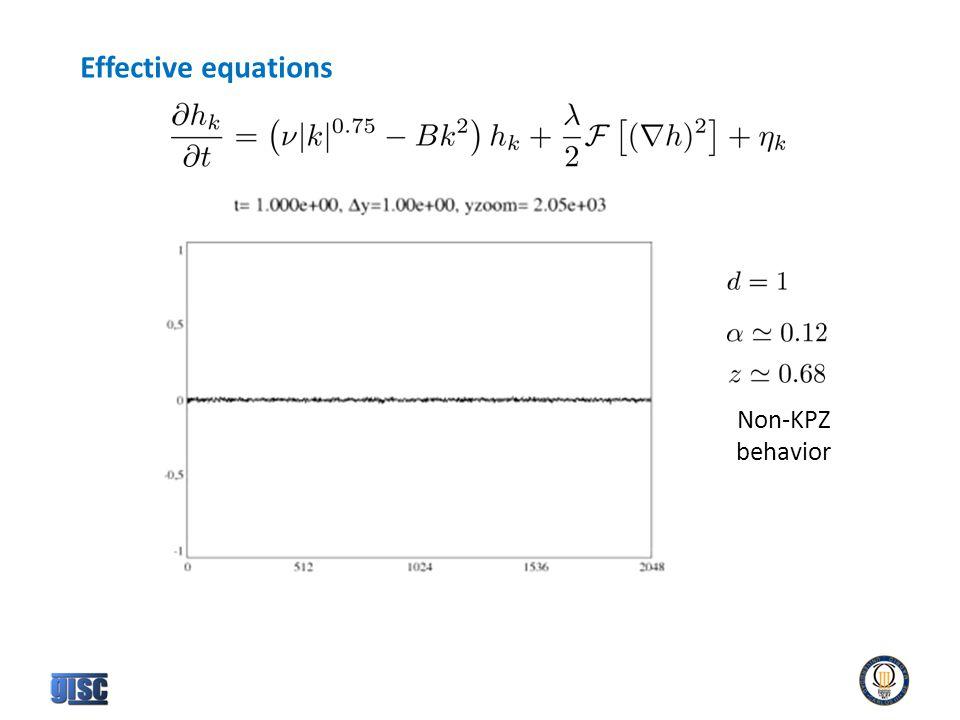 Non-KPZ behavior Effective equations