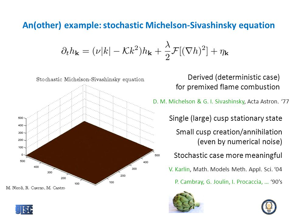 An(other) example: stochastic Michelson-Sivashinsky equation Derived (deterministic case) for premixed flame combustion D.
