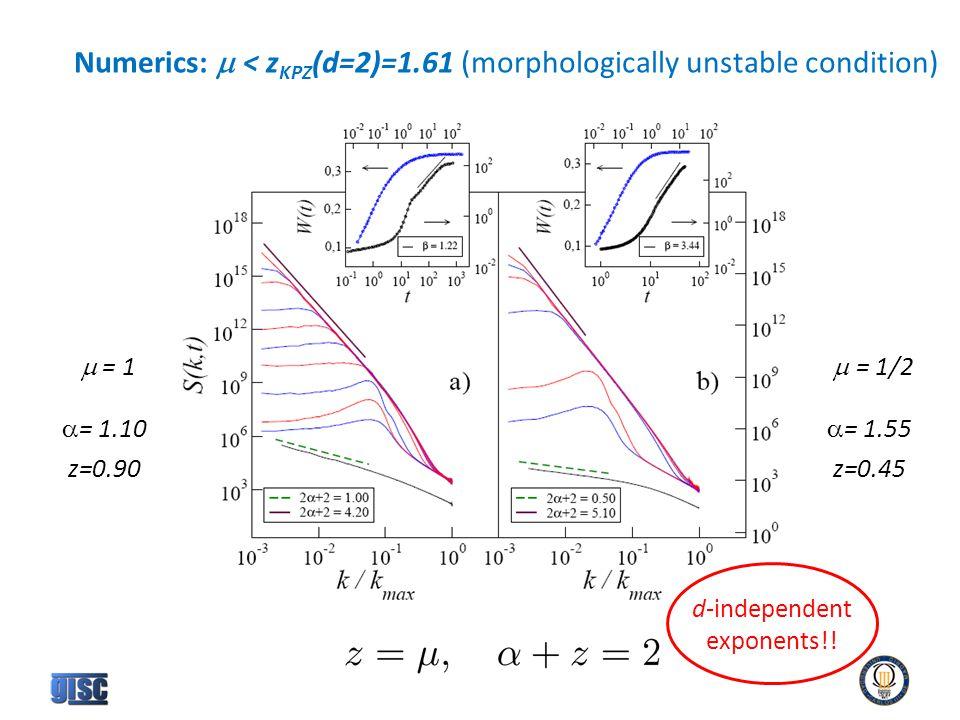 Numerics:  < z KPZ (d=2)=1.61 (morphologically unstable condition)  = 1  = 1/2  = 1.10 z=0.90  = 1.55 z=0.45 d-independent exponents!!