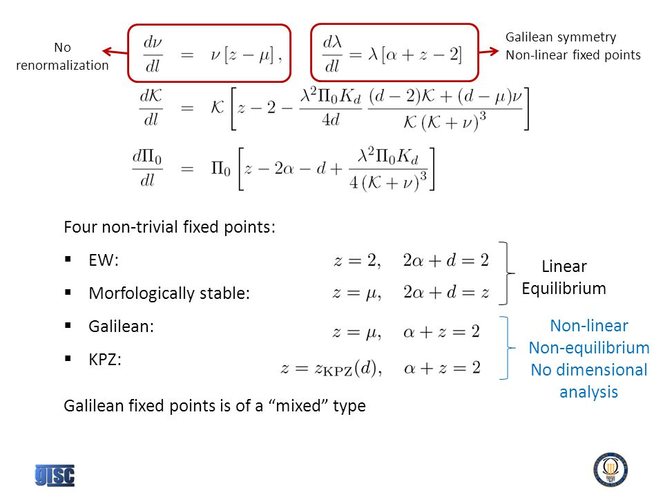 Four non-trivial fixed points:  EW:  Morfologically stable:  Galilean:  KPZ: Galilean fixed points is of a mixed type No renormalization Galilean symmetry Non-linear fixed points Linear Equilibrium Non-linear Non-equilibrium No dimensional analysis