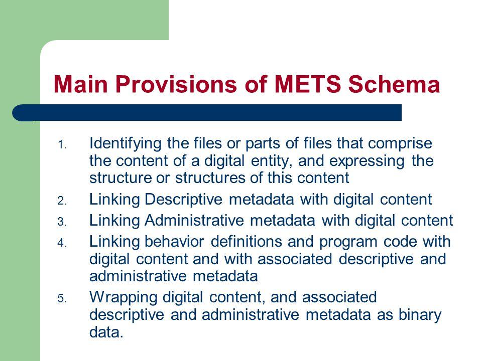 Linking Structure with Descriptive Metadata structMap div Structural Map Descriptive Md Sections External DescriptiveMD div dmdSec mdRef dmdSec mdWrap dmdSec mdRef dmdSec mdWrap div