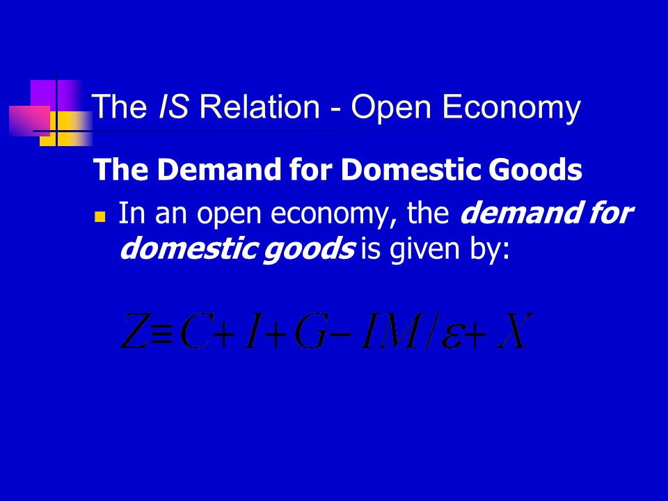 The Demand for Domestic Goods The Determinants of C, I, and G  The real exchange rate affects the composition of consumption and investment, but not the overall level of these aggregates.