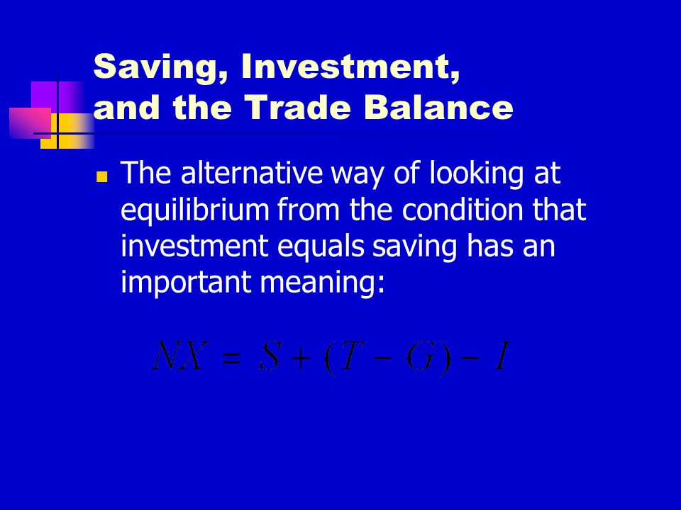 Saving, Investment, and the Trade Balance The alternative way of looking at equilibrium from the condition that investment equals saving has an import