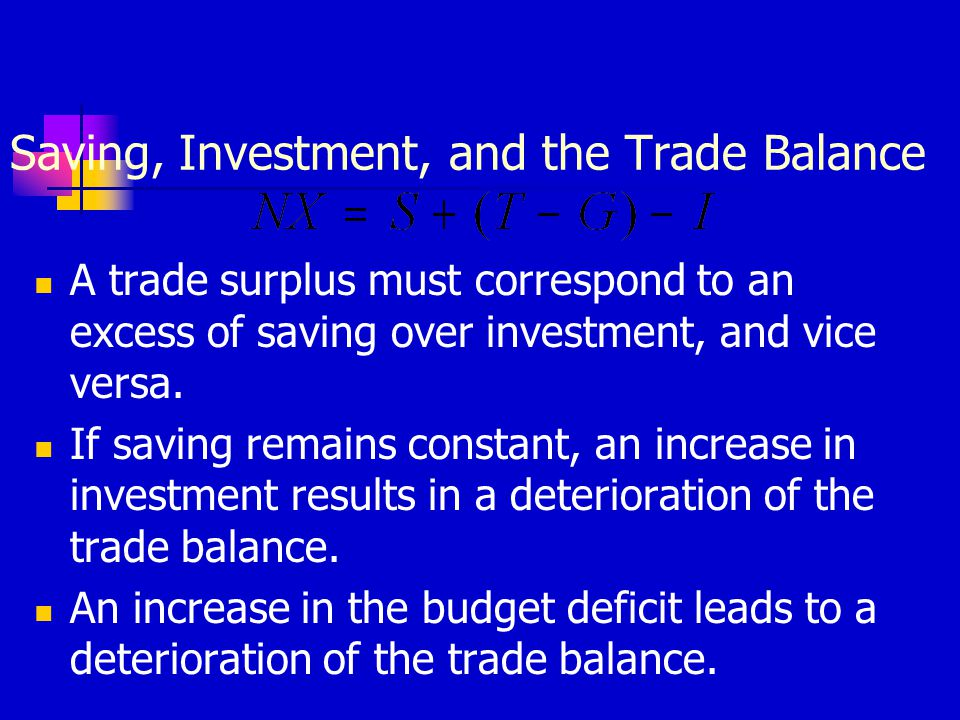 Saving, Investment, and the Trade Balance A trade surplus must correspond to an excess of saving over investment, and vice versa. If saving remains co